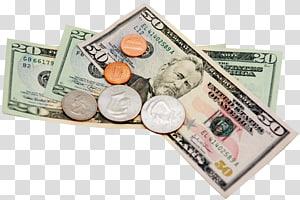 lima koin berbagai macam pada berbagai macam uang kertas dolar AS, Uang Kertas Koin, Penghematan Uang, Uang png