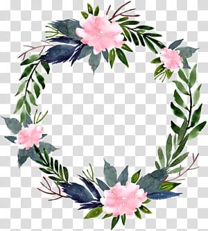 Karangan Bunga Bunga, perbatasan bunga cincin bunga Cat Air, ilustrasi bunga biru, putih, dan hijau png