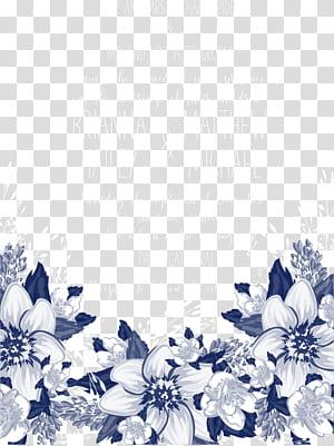Petal Biru Pola hitam dan putih, undangan bunga biru, teks putih dengan latar belakang biru PNG clipart