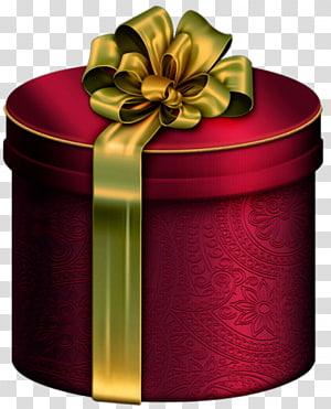 kotak hadiah bulat merah dengan ilustrasi pita hijau, Kotak hadiah Natal, Kotak Hadiah Merah Bulat dengan Busur Emas png