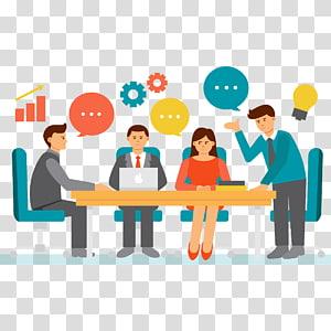 empat orang mendiskusikan ilustrasi, Pertemuan Pengusaha, kerja tim png