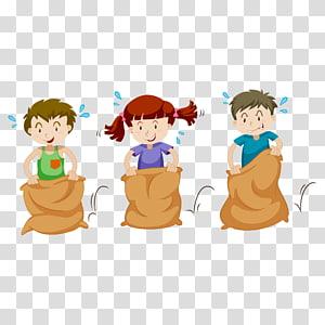 tiga anak dalam perlombaan karung, ras Karung goni karung, siswa PNG clipart