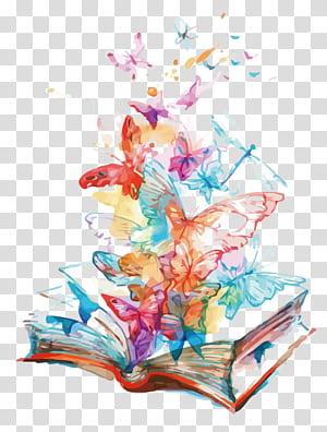 Butterfly AllPosters.com Buku, kupu-kupu terbang buku, kupu-kupu merah muda, biru, dan kuning dan ilustrasi buku png