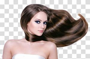 brunette-hair woman, Perawatan Rambut Beauty Parlor Shampo meluruskan Rambut, Model Rambut PNG clipart