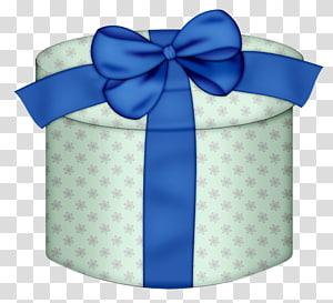 pita biru, Kotak hadiah Natal, Kotak Hadiah Bulat Putih dengan Busur Kuning png