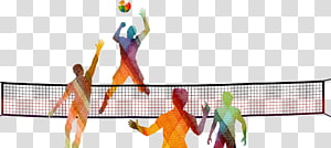 orang-orang bermain ilustrasi bola voli, voli pantai Olahraga jaring voli, Siluet bola voli yang digambar tangan png