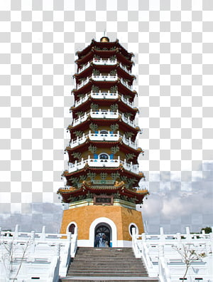 coklat, putih, dan krem pagoda di bawah langit biru dan putih berawan, Sun Moon Lake Xuanguang Temple Cien Pagoda, Taiwan Sun Moon Lake Cien Ta png