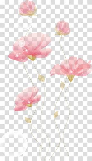 Bunga yang dilukis dengan tangan, animasi bunga merah muda png