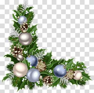 Dekorasi Natal, Ornamen Natal Santa Claus, Pojok Deco Natal dengan Dekorasi, daun palem hijau dengan ilustrasi pernak-pernik biru dan abu-abu png