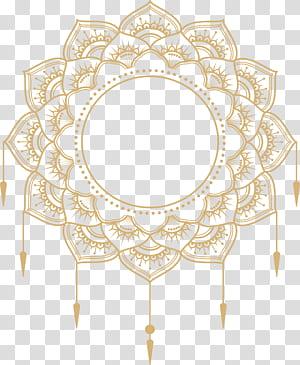 Kertas Adobe Illustrator Icon, kotak judul mandala emas, karya seni mandala kuning png