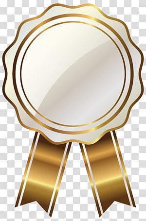 Grafis Skalabel Emas, Segel Putih dengan Pita Emas, ilustrasi pita coklat dan emas PNG clipart