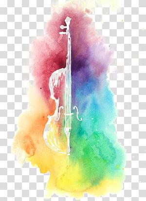 lukisan abstrak warna-warni, lukisan Cat Air Ukulele Cello Alat Musik, Menggambar biola png