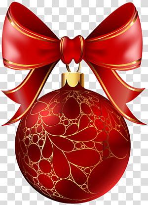 busur merah dengan ilustrasi bola natal, Hari Natal ornamen Natal dekorasi Natal, Bola Natal Merah PNG clipart