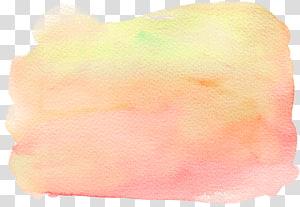 ilustrasi kuning, Lukisan Cat Air Pena Tinta, efek cat air kuning pucat PNG clipart