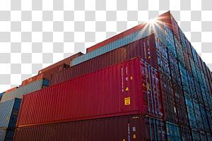 Kontainer Intermodal Kargo Logistik Transportasi Maritim, Kontainer terminal angkutan merah png