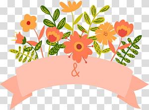 Spanduk Undangan Pernikahan Bunga Kartun, bunga oranye dan merah muda PNG clipart