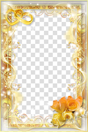 Bingkai undangan pernikahan, bingkai pernikahan, bingkai bunga kuning PNG clipart