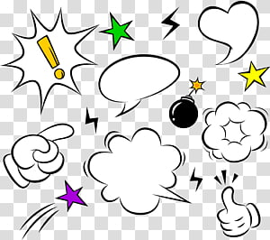 berbagai macam emoji, kotak Dialog, Komik, File komputer, Komik, ledakan awan dialog png