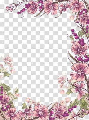 Bunga Desain bunga Ilustrasi Euclidean, Tinta latar belakang perbatasan bunga ungu, ilustrasi bunga ungu petaled png