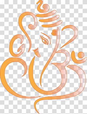 ilustrasi Lord Ganesha oranye dan abu-abu, Simbol Ganesha, Ganpati png