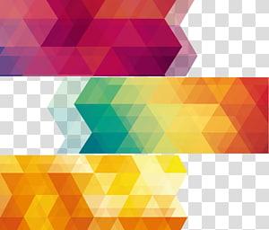 Geometri Abstraksi geometris Euclidean, Abstrak Geometri, tiga lukisan abstrak merah muda, kuning, dan hijau PNG clipart