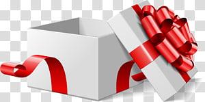 membuka kotak hadiah putih dan merah, kotak hadiah pita putih png
