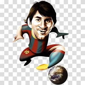 Lionel Messi FC Barcelona Tim sepak bola nasional Argentina 2014 Karikatur Piala Dunia FIFA, lionel messi, pria yang mengenakan kaos bergaris hijau dan merah png