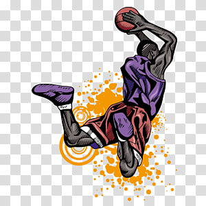 ilustrasi pemain bola basket, Pemain bola basket Slam dunk Atlet, Orang-orang bermain bola basket png