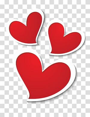 Simbol Jantung, Dekorasi Tiga Hati, ilustrasi tiga hati merah png