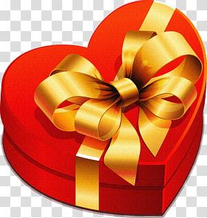kotak hadiah merah hati, hadiah Natal, Kotak Hadiah Besar Jantung dengan Busur Emas png