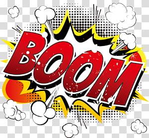 teks booming, buku Ledakan Kartun Komik Komik, stiker ledakan Api png
