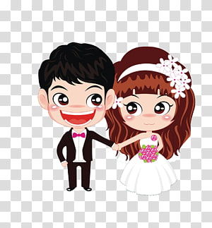 Pasangan pernikahan, Pernikahan, Cinta, Kartun pengantin, ilustrasi pasangan chibi PNG clipart
