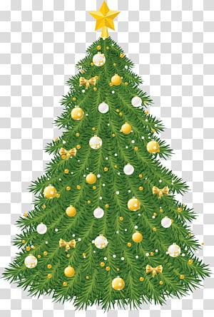 ilustrasi pohon Natal hijau dan kuning, hiasan pohon Natal, Pohon Natal Besar dengan Ornamen Emas dan Putih PNG clipart