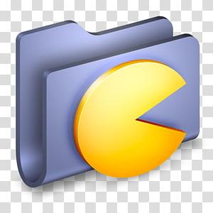 folder biru dengan pacman, ikon komputer sudut kuning, Game Folder Biru png