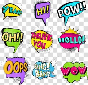 berbagai macam seni overlay teks, Ilustrasi balon Ucapan Komik, stiker ledakan warna Anime png
