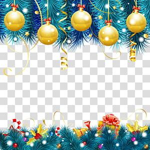ilustrasi perbatasan bertema emas dan biru Natal, Ucapan Selamat Natal Tahun Baru, dekorasi Natal png
