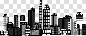 ilustrasi bangunan putih dan hitam, Gedung Pencakar Langit, gedung PNG clipart