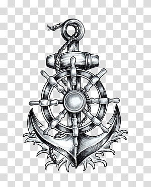 ilustrasi jangkar dan kapal helm, Jangkar Roda T-shirt Kapal Tato Menggambar, jangkar png