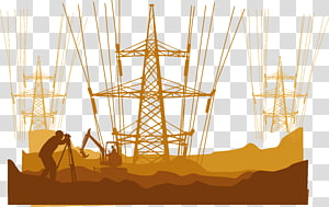 ilustrasi konstruksi oranye dan coklat, Kabel listrik Tegangan tinggi Kabel tegangan tinggi, Kabel tegangan tinggi png