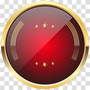 Lencana Merah, Templat Lencana Merah, logo bulat merah dan kuning PNG clipart