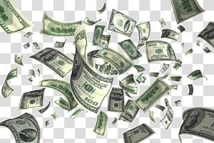 100 lot uang kertas dolar AS, uang Terbang, Dolar Terbang png