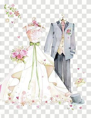 Undangan pernikahan, Suami Istri, pernikahan dicat, jas abu-abu dan ilustrasi gaun pengantin PNG clipart