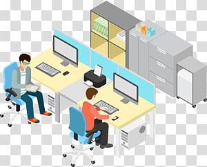Ilustrasi Kantor, Orang Bisnis, orang di kantor menghadapi ilustrasi komputer png