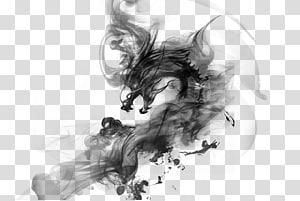 monster bayangan hitam, China Ink Dragon, Ink Chinese Dragon png