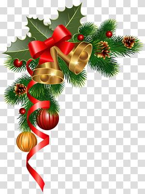 Hiasan natal hiasan natal pohon natal, hiasan sudut natal, karangan bunga hijau PNG clipart