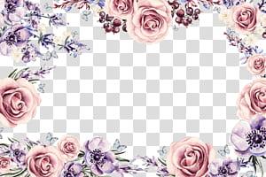 Bingkai bunga, bingkai bunga berwarna-warni, bingkai bunga pink dan ungu PNG clipart