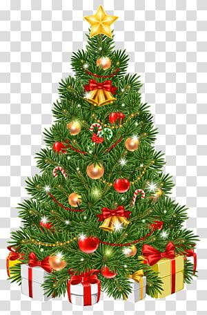 Ilustrasi pohon Natal, pohon Natal Hari Natal ornamen Natal, Pohon Natal Dihiasi PNG clipart