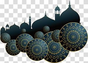 ilustrasi masjid hitam dan kuning, Ilustrasi Idul Fitri Idul Fitri Islam, Poster gereja biru tua PNG clipart