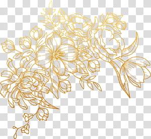 Bunga Euclidean, dicat bunga emas, ilustrasi bunga cokelat png