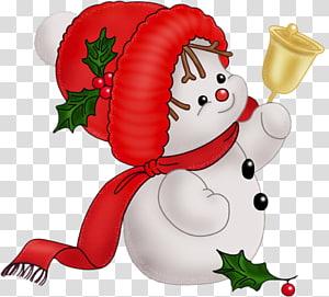 manusia salju memegang ilustrasi lonceng, Permen tongkat pohon Natal Santa Claus, Snowman Lucu Vintage png